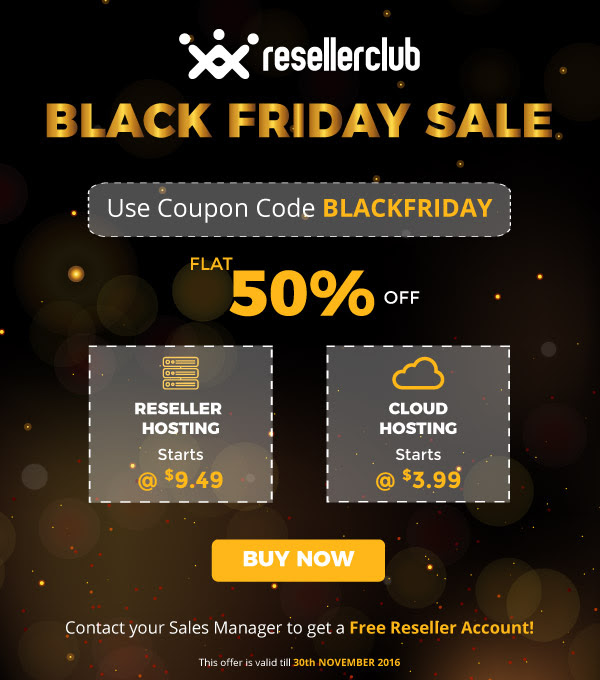 ResellerClub Black Friday Offer 2016, resellerclub black friday discount 2016, reseller club cloud hosting offer 2016